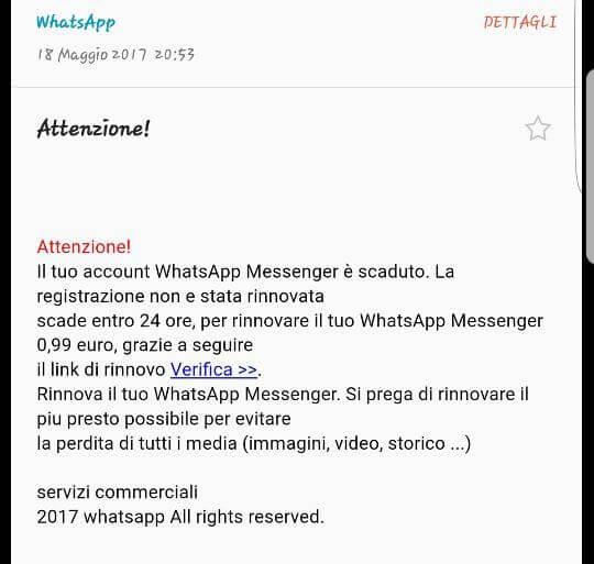 Account WhatsApp scaduto, la