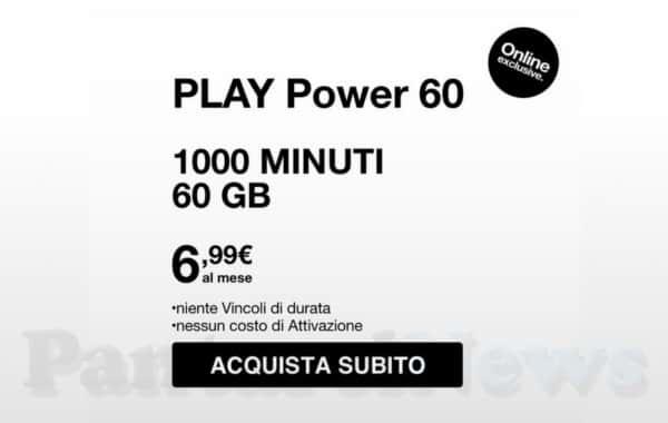 Play Power 60 Black Week di 3 Italia: 1000 minuti e 60GB a 7€
